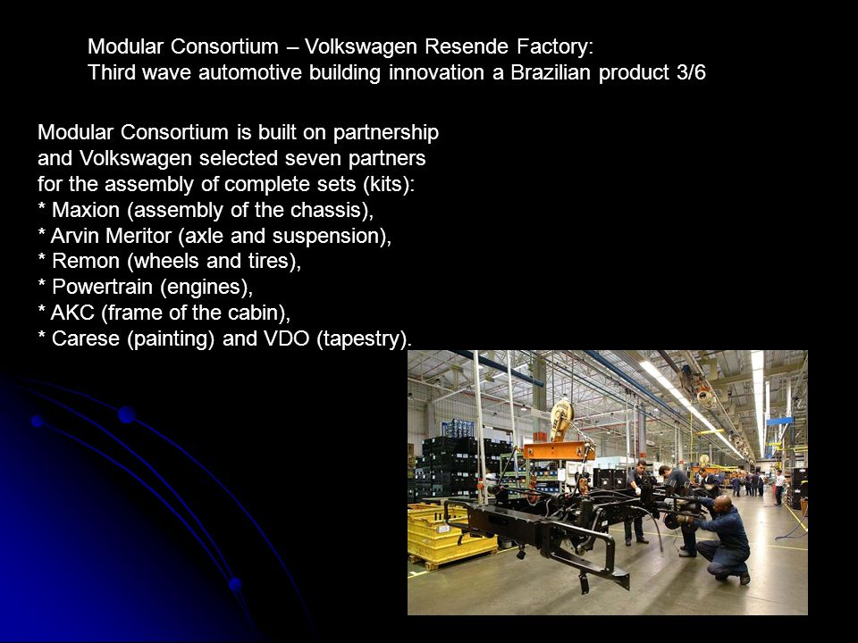 24 Modular Consortium is built on partnership and Volkswagen selected seven partners for the assembly of complete sets (kits): * Maxion (assembly of t