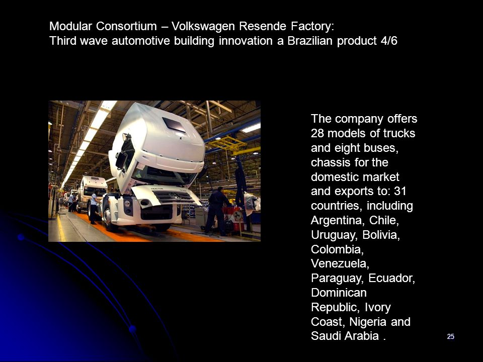 25 The company offers 28 models of trucks and eight buses, chassis for the domestic market and exports to: 31 countries, including Argentina, Chile, U