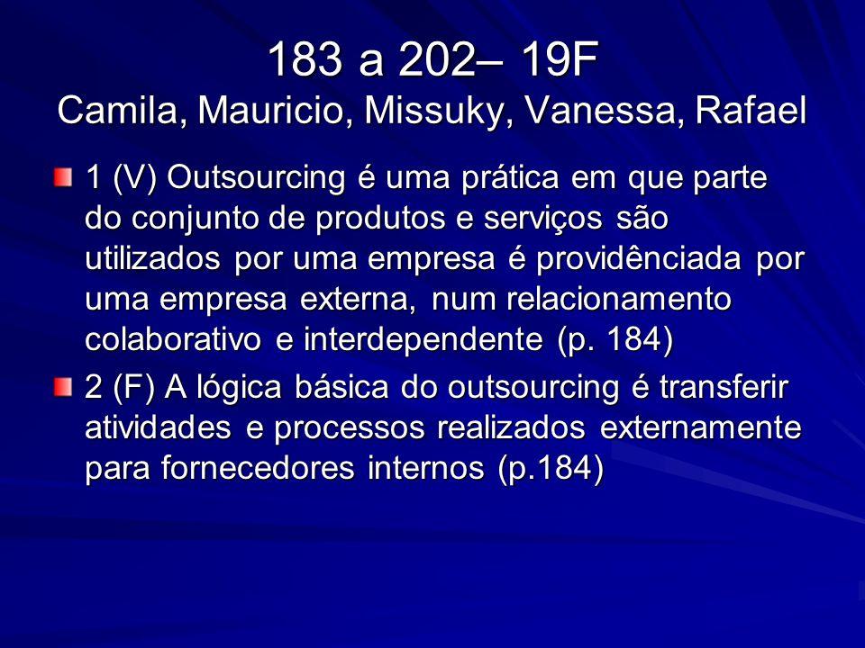 183 a 202– 19F Camila, Mauricio, Missuky, Vanessa, Rafael 1 (V) Outsourcing é uma prática em que parte do conjunto de produtos e serviços são utilizad