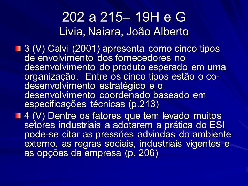 202 a 215– 19H e G Livia, Naiara, João Alberto 3 (V) Calvi (2001) apresenta como cinco tipos de envolvimento dos fornecedores no desenvolvimento do pr