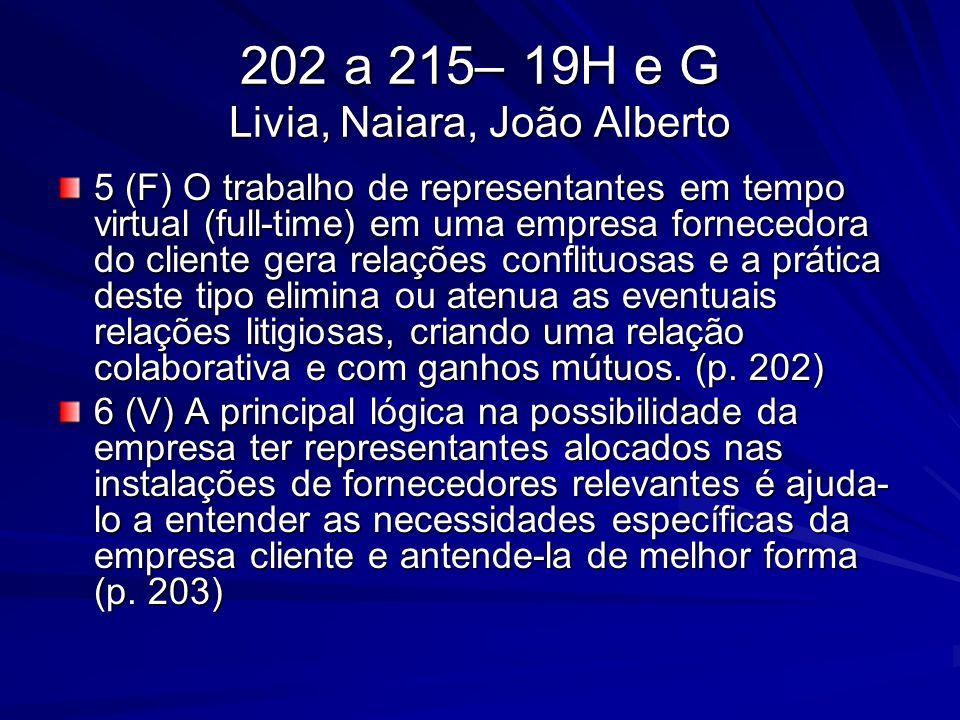 202 a 215– 19H e G Livia, Naiara, João Alberto 5 (F) O trabalho de representantes em tempo virtual (full-time) em uma empresa fornecedora do cliente g