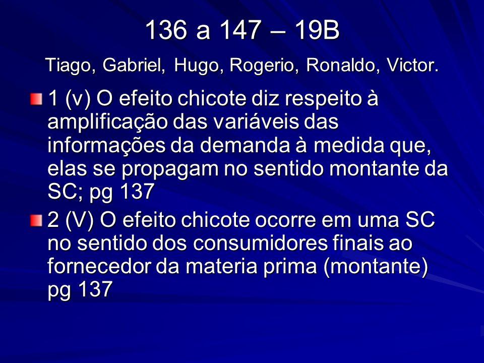 136 a 147 – 19B Tiago, Gabriel, Hugo, Rogerio, Ronaldo, Victor. 1 (v) O efeito chicote diz respeito à amplificação das variáveis das informações da de