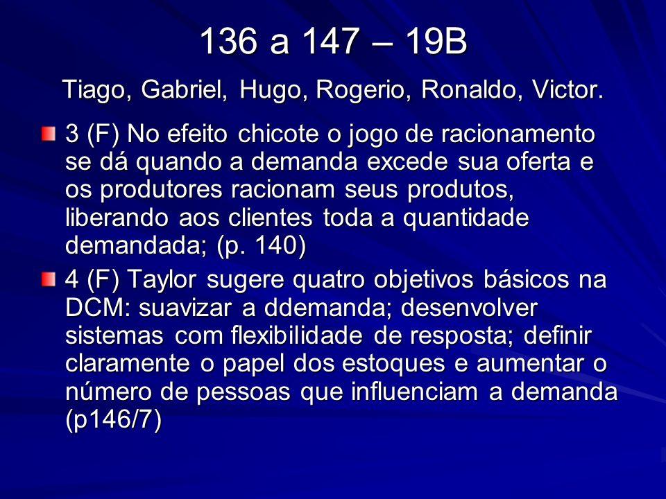 136 a 147 – 19B Tiago, Gabriel, Hugo, Rogerio, Ronaldo, Victor. 3 (F) No efeito chicote o jogo de racionamento se dá quando a demanda excede sua ofert