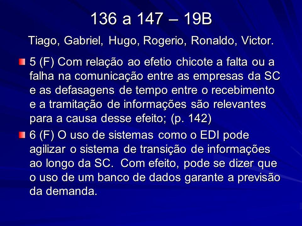 136 a 147 – 19B Tiago, Gabriel, Hugo, Rogerio, Ronaldo, Victor. 5 (F) Com relação ao efetio chicote a falta ou a falha na comunicação entre as empresa