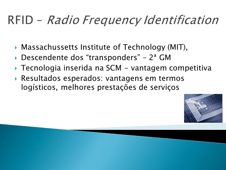 RFID – Radio Frequency Identification Massachussetts Institute of Technology (MIT), Descendente dos transponders – 2ª GM Tecnologia inserida na SCM -