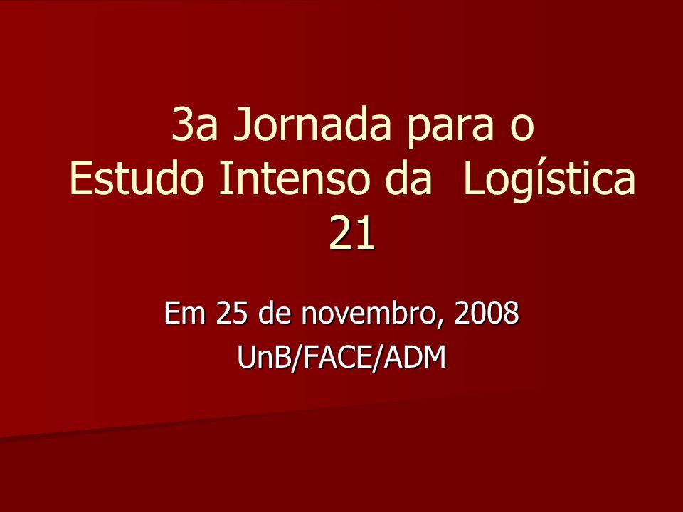 21 3a Jornada para o Estudo Intenso da Logística 21 Em 25 de novembro, 2008 UnB/FACE/ADM