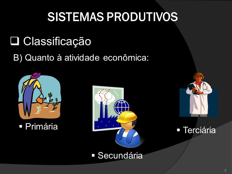 Classificação B) Quanto à atividade econômica: Primária Secundária Terciária 5