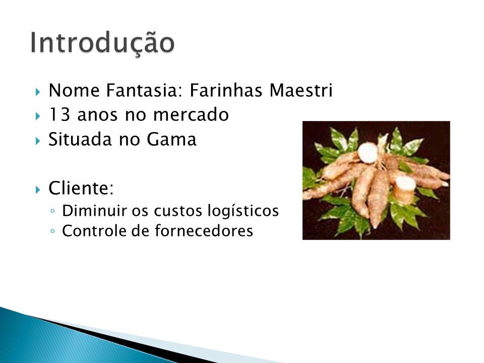 Nome Fantasia: Farinhas Maestri 13 anos no mercado Situada no Gama Cliente: Diminuir os custos logísticos Controle de fornecedores