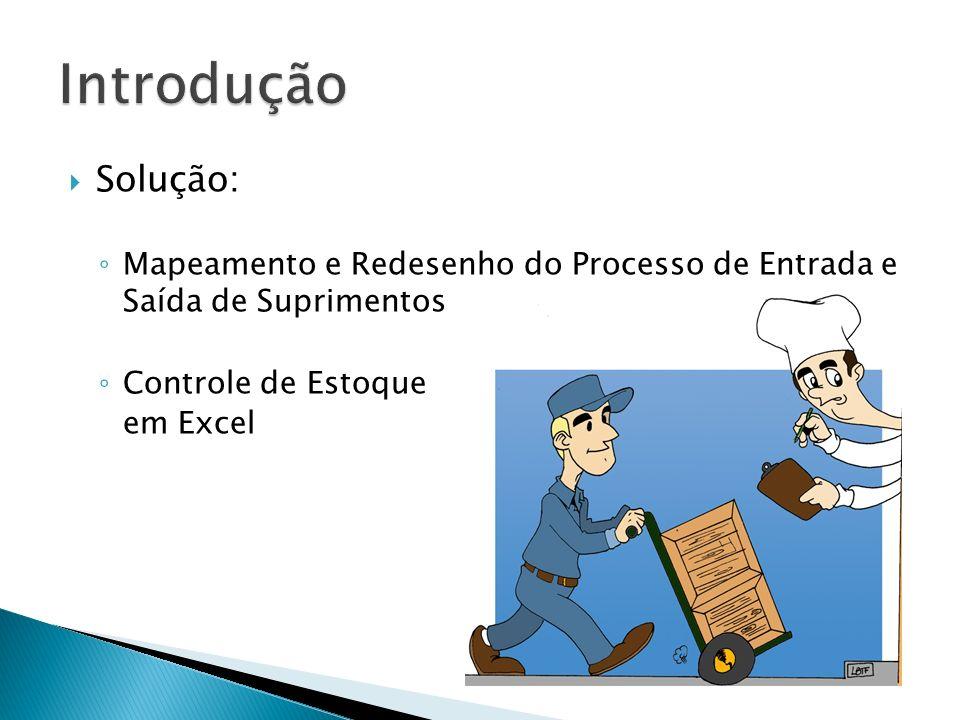 Solução: Mapeamento e Redesenho do Processo de Entrada e Saída de Suprimentos Controle de Estoque em Excel