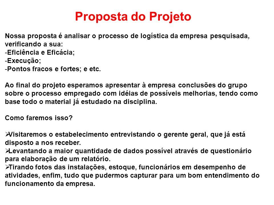Proposta do Projeto Nossa proposta é analisar o processo de logística da empresa pesquisada, verificando a sua: -Eficiência e Eficácia; -Execução; -Po