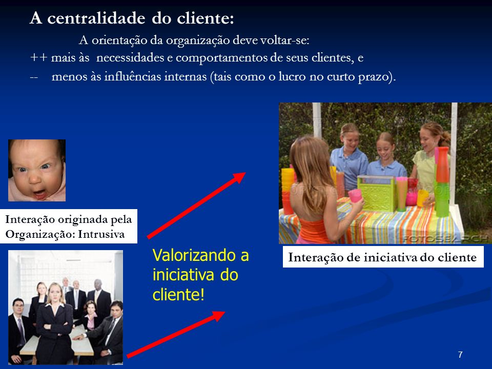 7 Valorizando a iniciativa do cliente! A centralidade do cliente: A orientação da organização deve voltar-se: ++ mais às necessidades e comportamentos