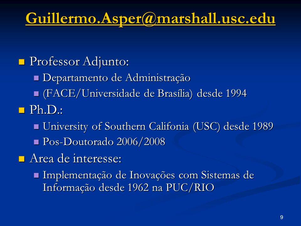 9 Guillermo.Asper@marshall.usc.edu Professor Adjunto: Professor Adjunto: Departamento de Administração Departamento de Administração (FACE/Universidad