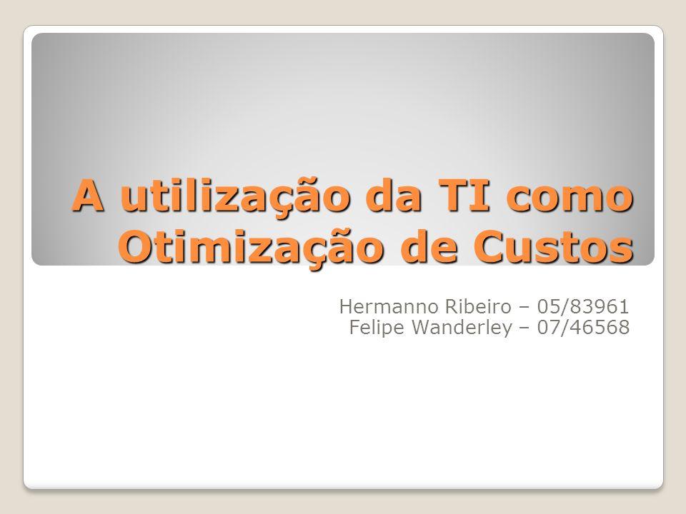 A utilização da TI como Otimização de Custos Hermanno Ribeiro – 05/83961 Felipe Wanderley – 07/46568