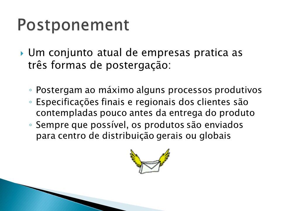 Vantagens do postponement: Maior flexibilidade O forecasting é mais fácil de ser realizado Possibilidade de desenvolver um produto um pouco mais customizado