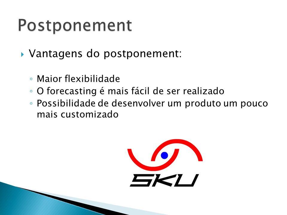 Vantagens do postponement: Maior flexibilidade O forecasting é mais fácil de ser realizado Possibilidade de desenvolver um produto um pouco mais custo