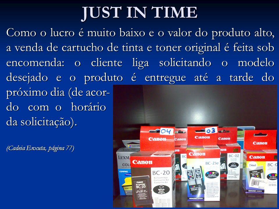 JUST IN TIME Como o lucro é muito baixo e o valor do produto alto, a venda de cartucho de tinta e toner original é feita sob encomenda: o cliente liga