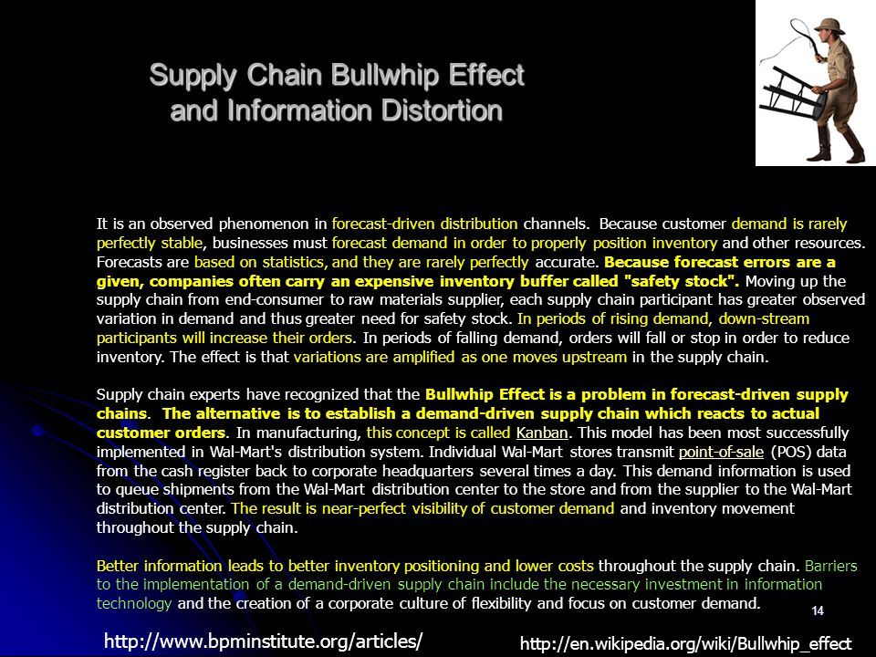 14 Supply Chain Bullwhip Effect and Information Distortion It is an observed phenomenon in forecast-driven distribution channels. Because customer dem