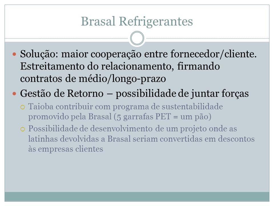 Brasal Refrigerantes Solução: maior cooperação entre fornecedor/cliente. Estreitamento do relacionamento, firmando contratos de médio/longo-prazo Gest