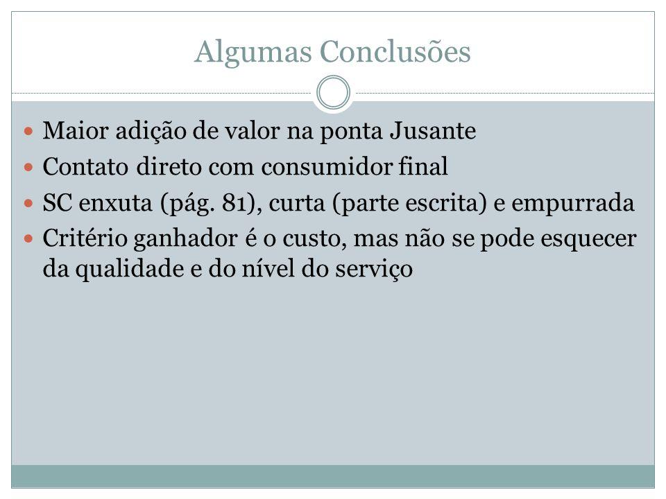 Algumas Conclusões Maior adição de valor na ponta Jusante Contato direto com consumidor final SC enxuta (pág. 81), curta (parte escrita) e empurrada C