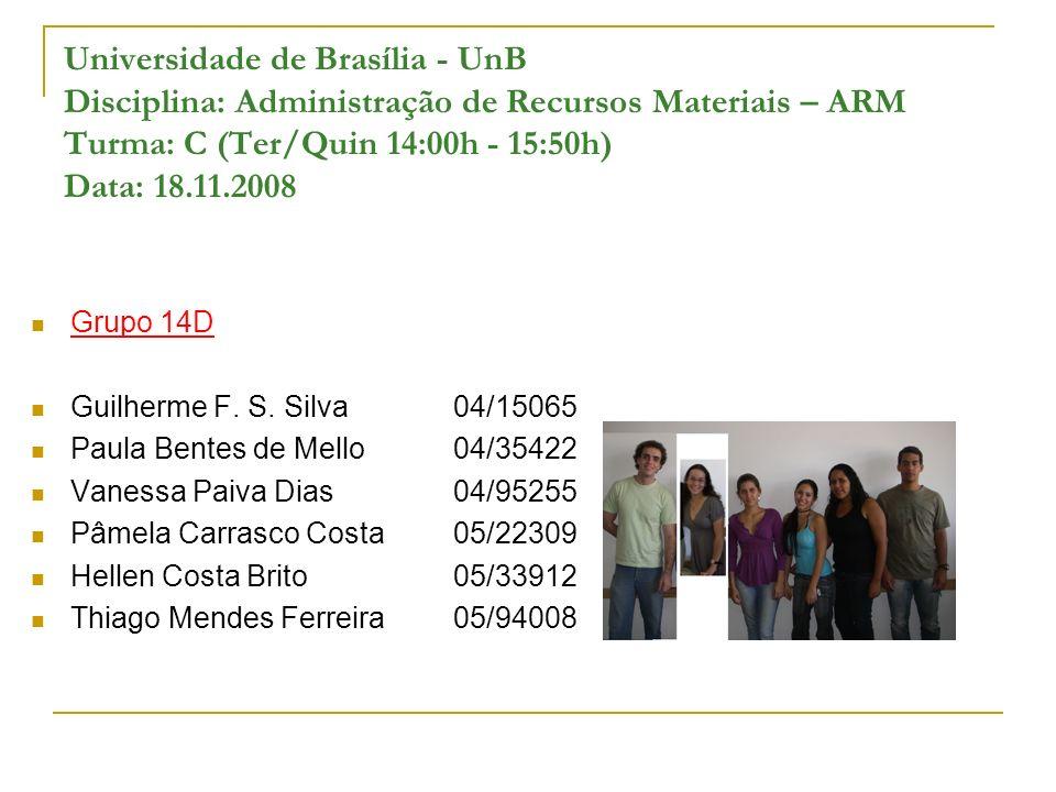 Universidade de Brasília - UnB Disciplina: Administração de Recursos Materiais – ARM Turma: C (Ter/Quin 14:00h - 15:50h) Data: 18.11.2008 Grupo 14D Gu