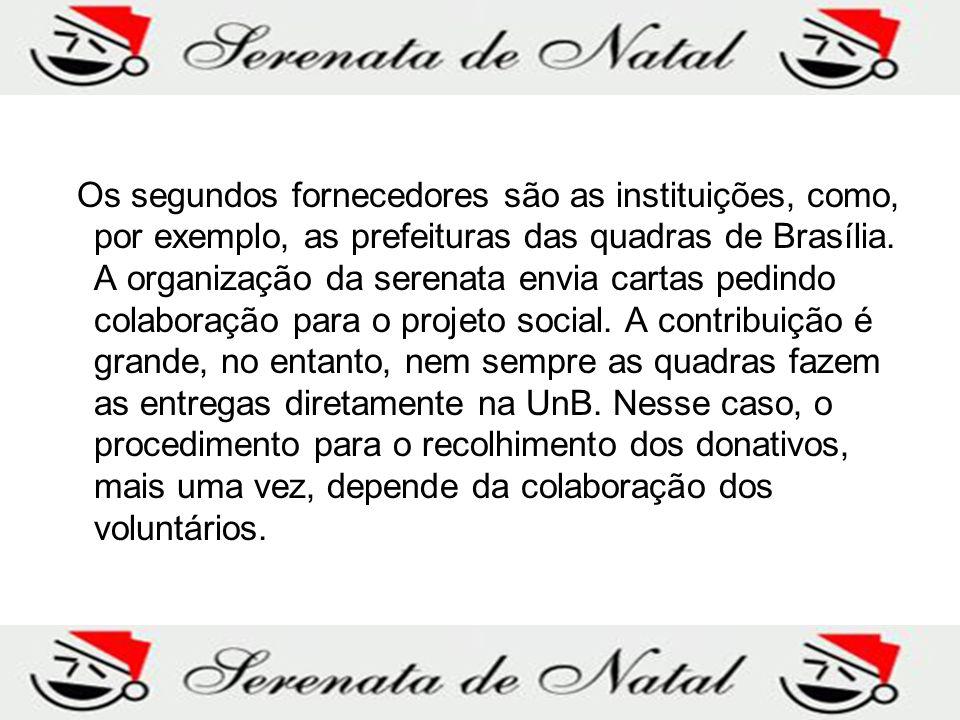 Os segundos fornecedores são as instituições, como, por exemplo, as prefeituras das quadras de Brasília. A organização da serenata envia cartas pedind