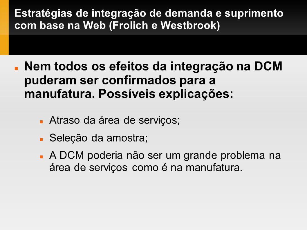 Estratégias de integração de demanda e suprimento com base na Web (Frolich e Westbrook) Atraso da área de serviços; Seleção da amostra; A DCM poderia