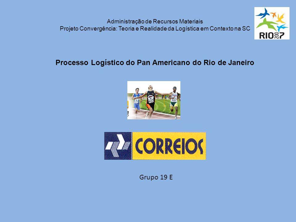 Administração de Recursos Materiais Projeto Convergência: Teoria e Realidade da Logística em Contexto na SC Processo Logístico do Pan Americano do Rio de Janeiro Grupo 19 E
