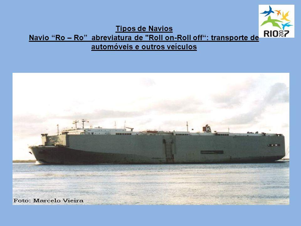 Tipos de Navios Navio Ro – Ro abreviatura de Roll on-Roll off: transporte de automóveis e outros veículos