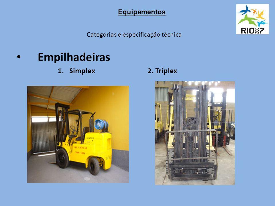 Categorias e especificação técnica Empilhadeiras 1.Simplex 2. Triplex Equipamentos