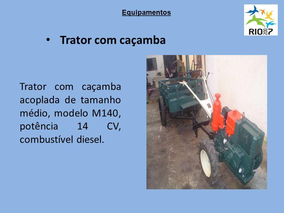 Trator com caçamba Trator com caçamba acoplada de tamanho médio, modelo M140, potência 14 CV, combustível diesel.