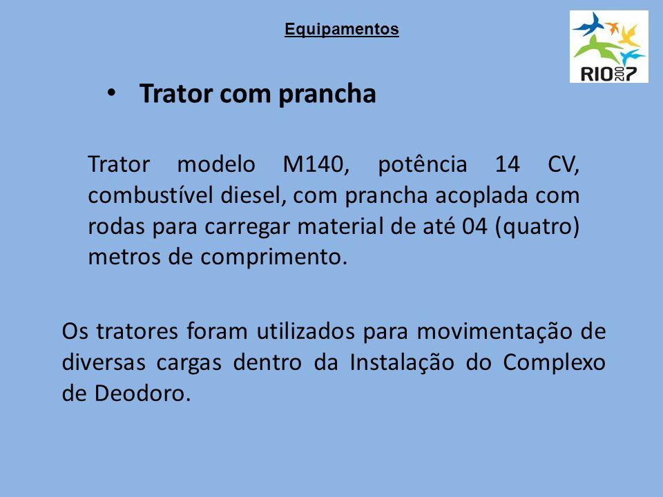 Trator com prancha Trator modelo M140, potência 14 CV, combustível diesel, com prancha acoplada com rodas para carregar material de até 04 (quatro) metros de comprimento.