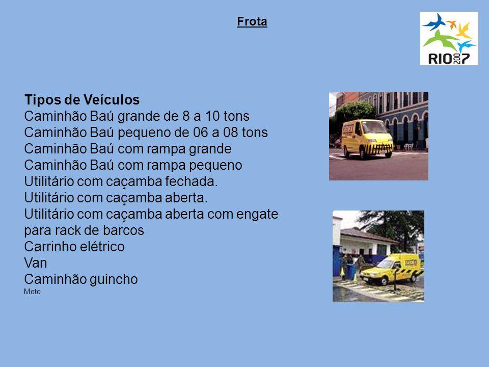 Frota Tipos de Veículos Caminhão Baú grande de 8 a 10 tons Caminhão Baú pequeno de 06 a 08 tons Caminhão Baú com rampa grande Caminhão Baú com rampa pequeno Utilitário com caçamba fechada.
