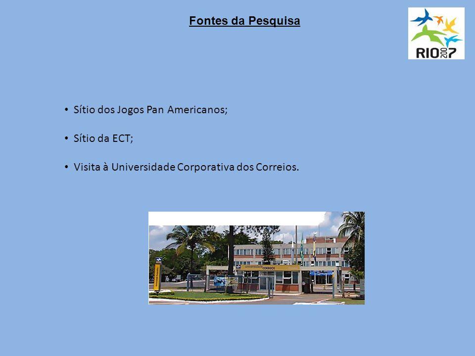 Fontes da Pesquisa Sítio dos Jogos Pan Americanos; Sítio da ECT; Visita à Universidade Corporativa dos Correios.