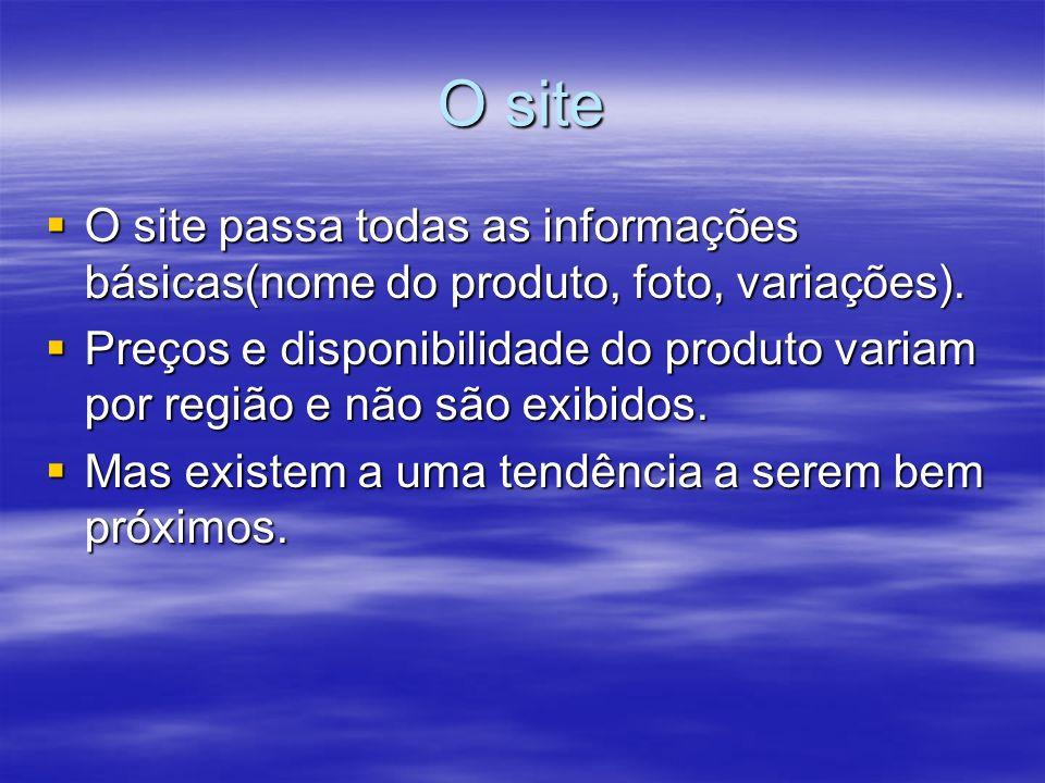 O site O site passa todas as informações básicas(nome do produto, foto, variações).