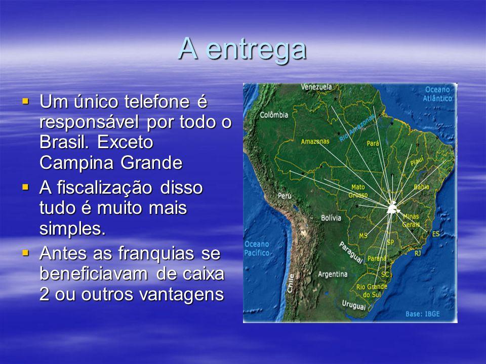 A entrega Um único telefone é responsável por todo o Brasil.