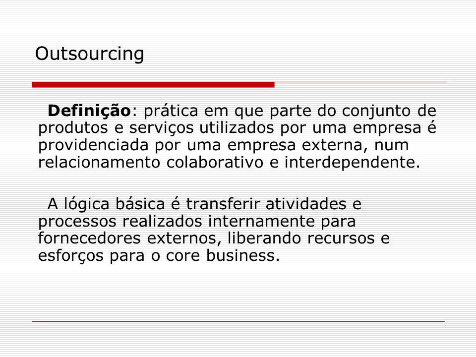 Definição: prática em que parte do conjunto de produtos e serviços utilizados por uma empresa é providenciada por uma empresa externa, num relacioname