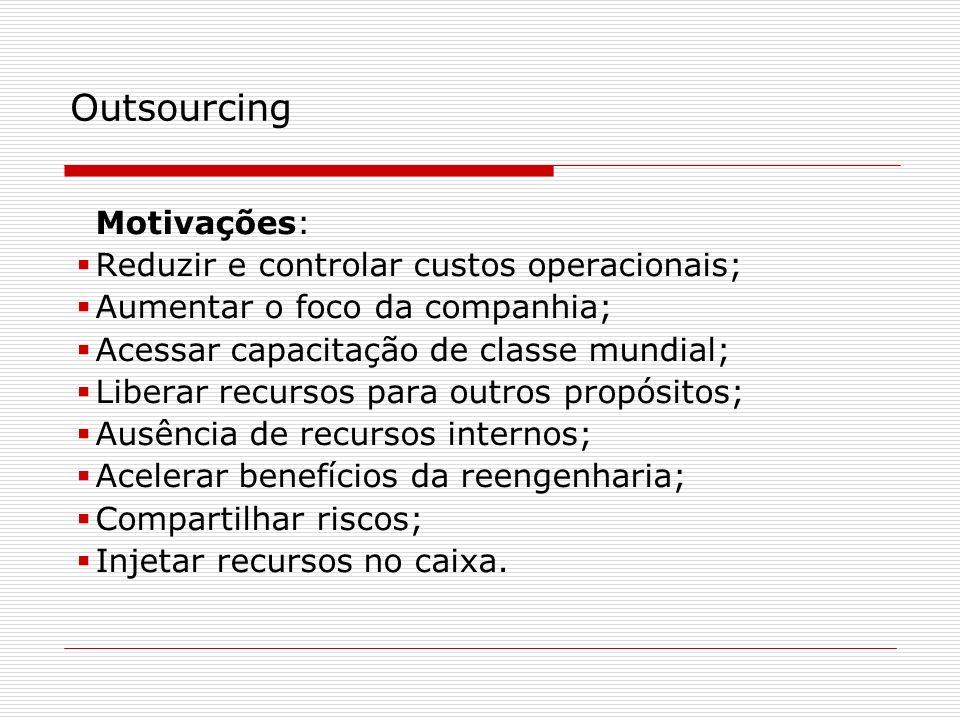 Motivações: Reduzir e controlar custos operacionais; Aumentar o foco da companhia; Acessar capacitação de classe mundial; Liberar recursos para outros