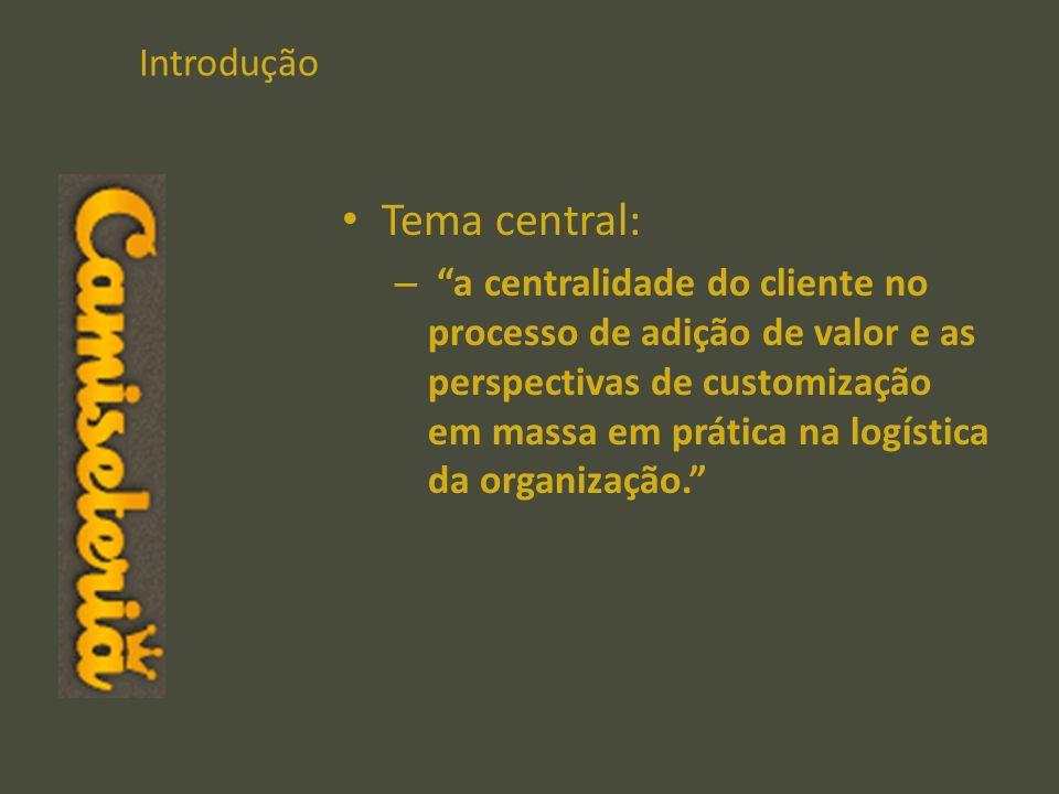 Introdução Tema central: – a centralidade do cliente no processo de adição de valor e as perspectivas de customização em massa em prática na logística