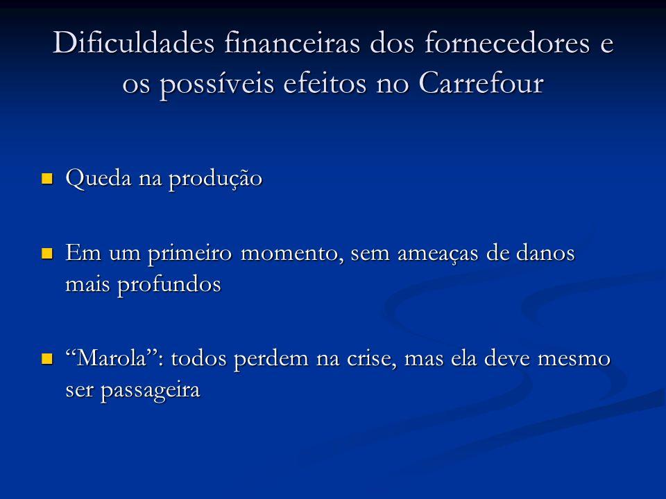 Dificuldades financeiras dos fornecedores e os possíveis efeitos no Carrefour Queda na produção Queda na produção Em um primeiro momento, sem ameaças