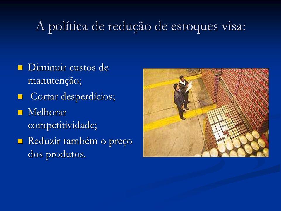 A política de redução de estoques visa: Diminuir custos de manutenção; Diminuir custos de manutenção; Cortar desperdícios; Cortar desperdícios; Melhor