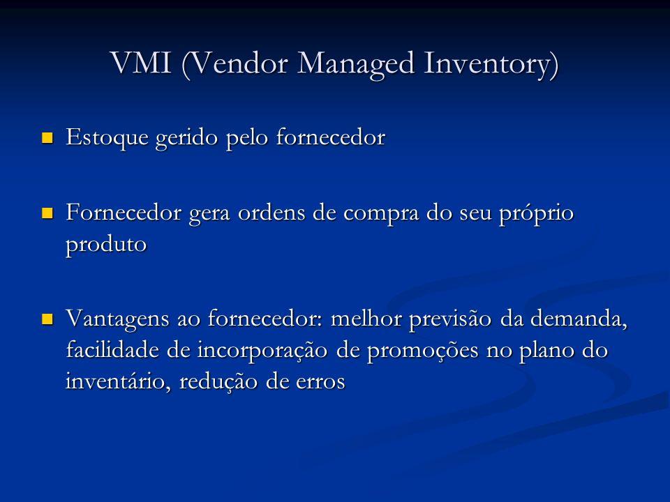 VMI (Vendor Managed Inventory) Estoque gerido pelo fornecedor Estoque gerido pelo fornecedor Fornecedor gera ordens de compra do seu próprio produto F