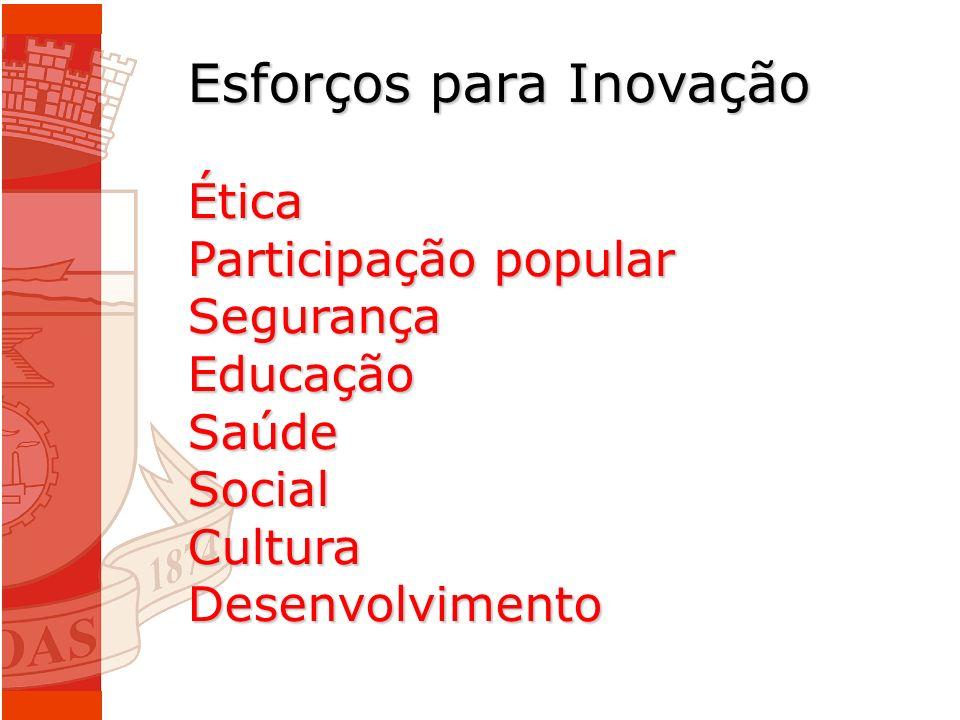 Esforços para Inovação Ética Participação popular SegurançaEducaçãoSaúdeSocialCulturaDesenvolvimento