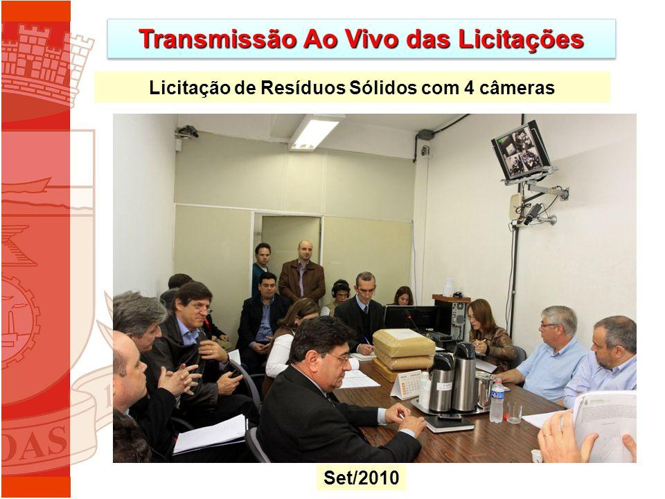 Transmissão Ao Vivo das Licitações Licitação de Resíduos Sólidos com 4 câmeras Set/2010