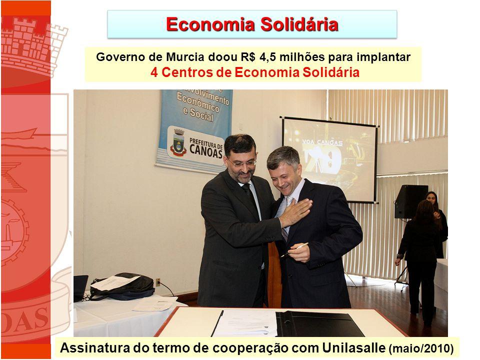 Economia Solidária Governo de Murcia doou R$ 4,5 milhões para implantar 4 Centros de Economia Solidária Missão à Espanha Assinatura do termo de cooperação com Unilasalle (maio/2010)
