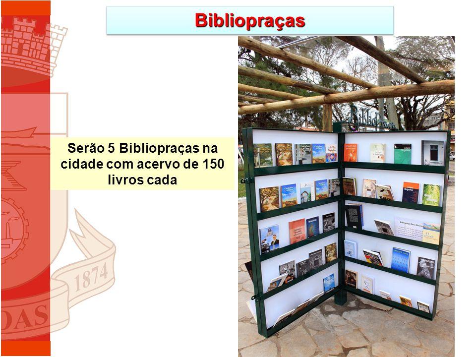 BibliopraçasBibliopraças Serão 5 Bibliopraças na cidade com acervo de 150 livros cada
