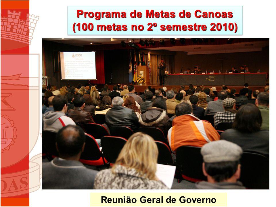 Programa de Metas de Canoas (100 metas no 2º semestre 2010) Reunião Geral de Governo