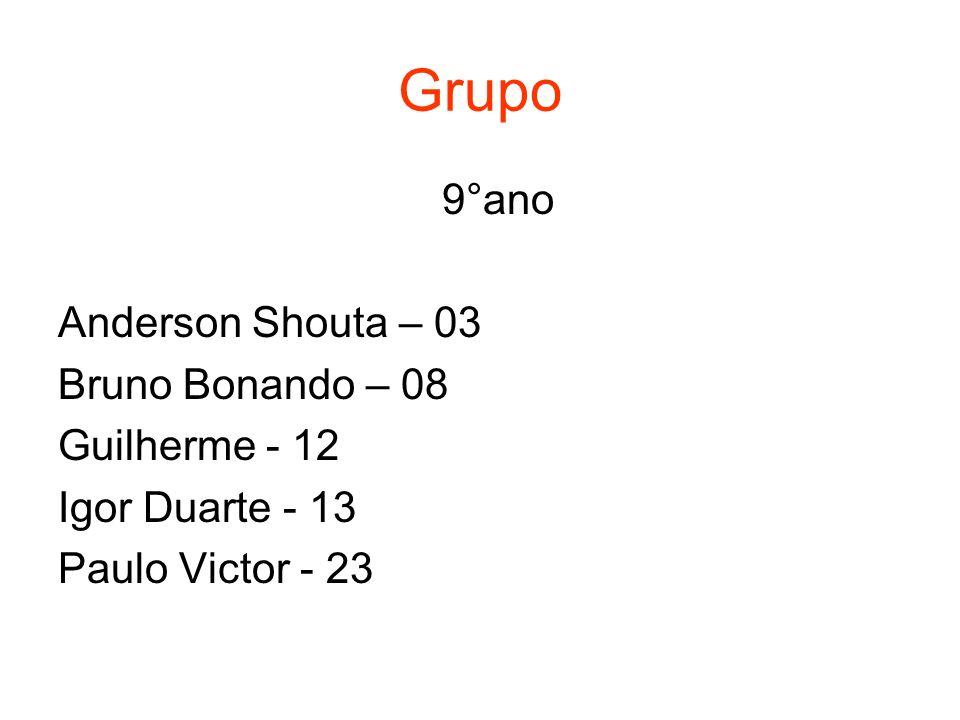 Grupo 9°ano Anderson Shouta – 03 Bruno Bonando – 08 Guilherme - 12 Igor Duarte - 13 Paulo Victor - 23
