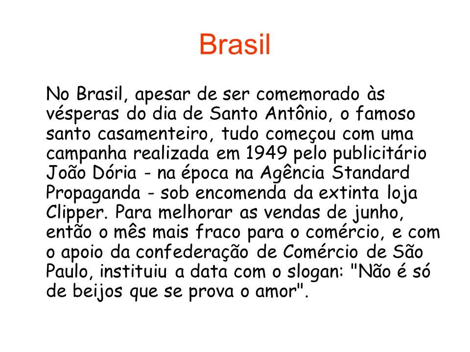 Brasil No Brasil, apesar de ser comemorado às vésperas do dia de Santo Antônio, o famoso santo casamenteiro, tudo começou com uma campanha realizada e