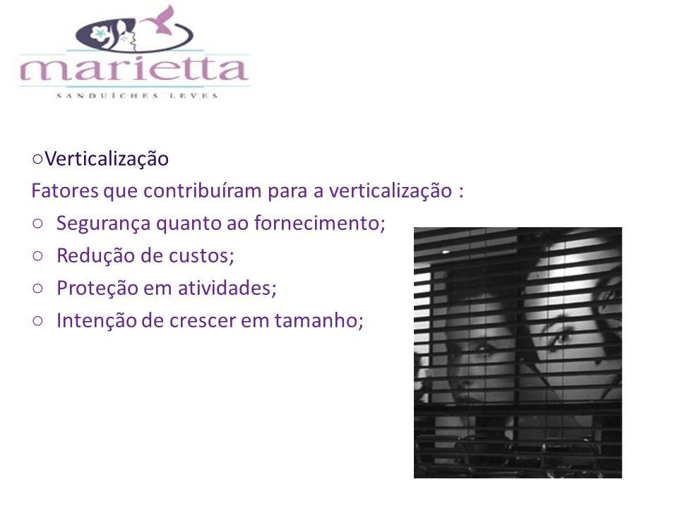 Verticalização Fatores que contribuíram para a verticalização : Segurança quanto ao fornecimento; Redução de custos; Proteção em atividades; Intenção