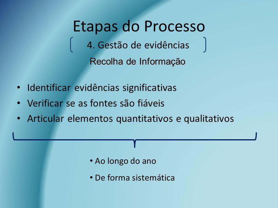 Identificar evidências significativas Verificar se as fontes são fiáveis Articular elementos quantitativos e qualitativos Etapas do Processo Ao longo